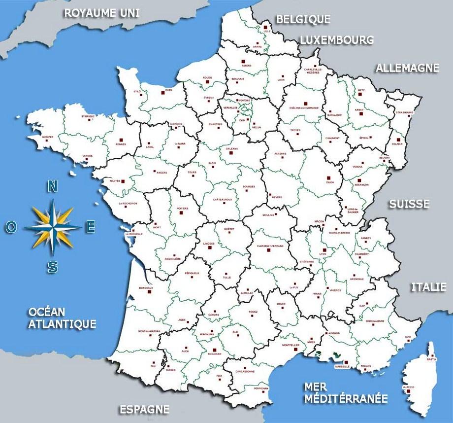 Carte de france villes et fleuves - altoservices