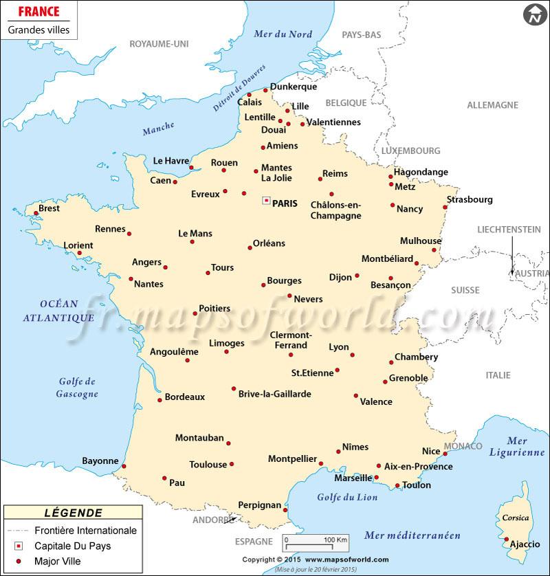 Carte grandes villes françaises