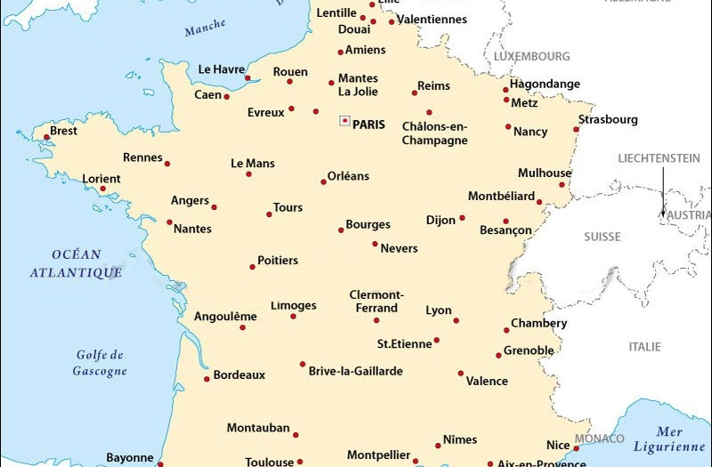 Carte de france nom des villes