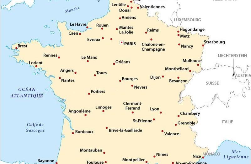 Les principales villes francaises