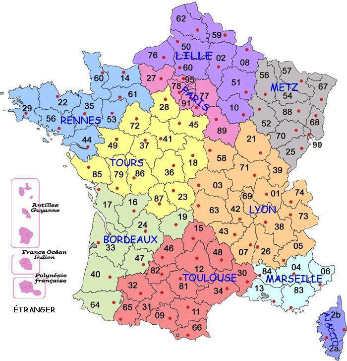 Carte de france avec les départements