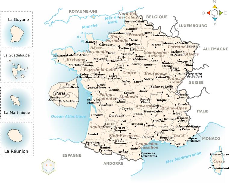 Carte des départements français avec noms
