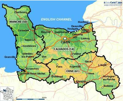 Carte departement normandie