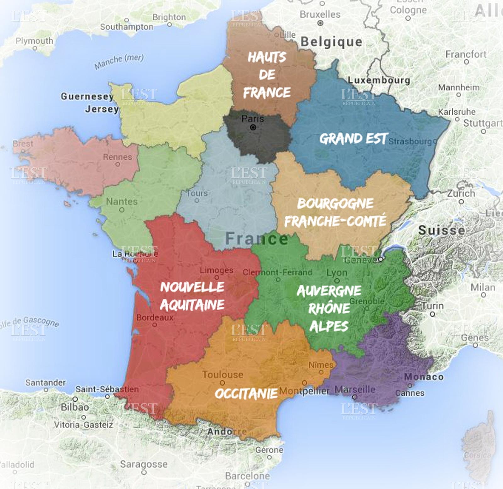 Nouvelles regions noms