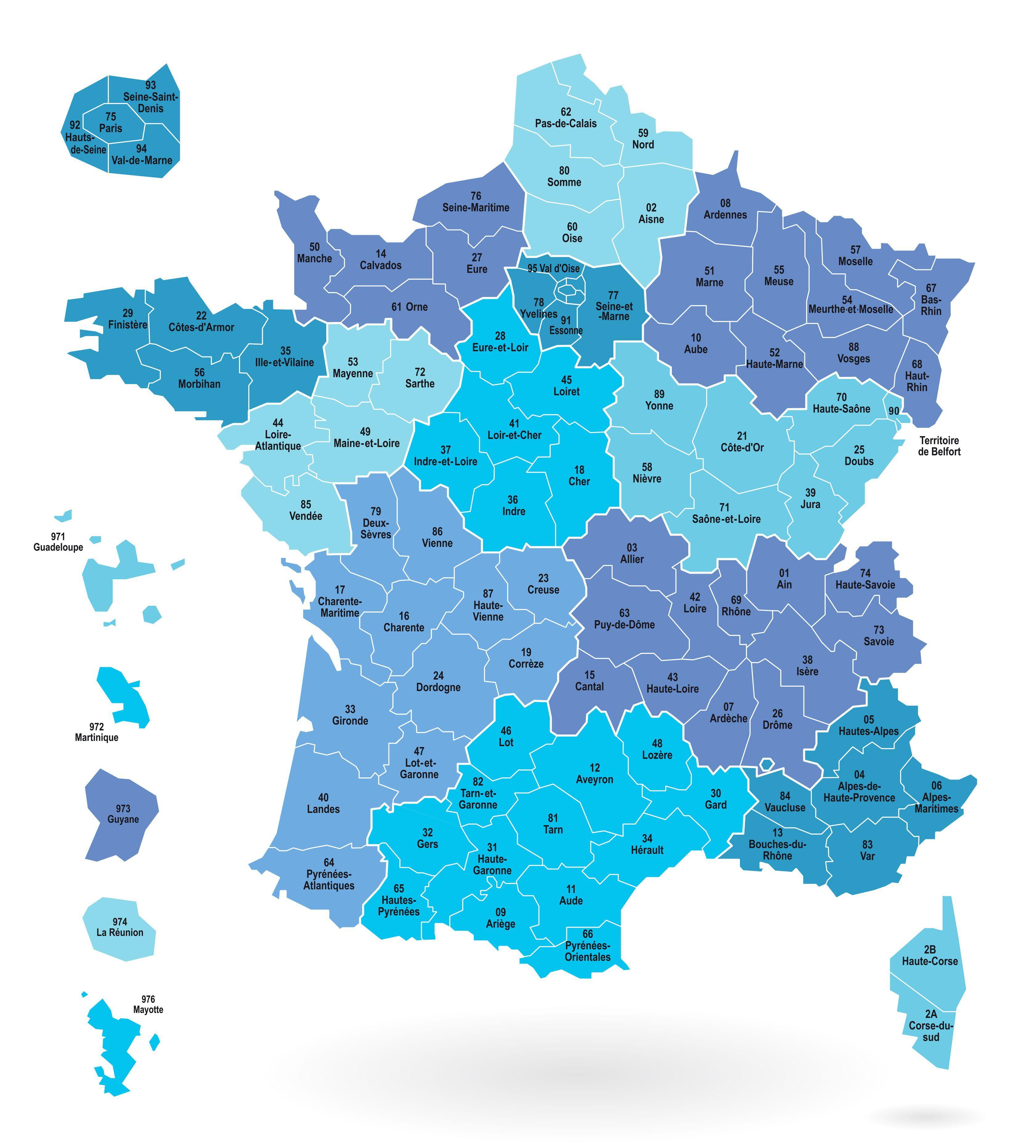 Carte de france avec région et département