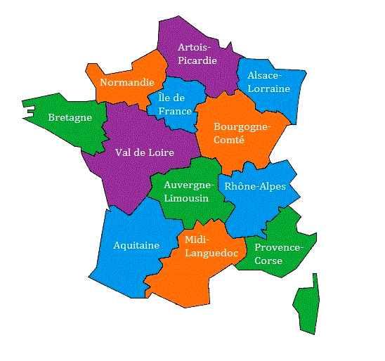Les 13 régions françaises