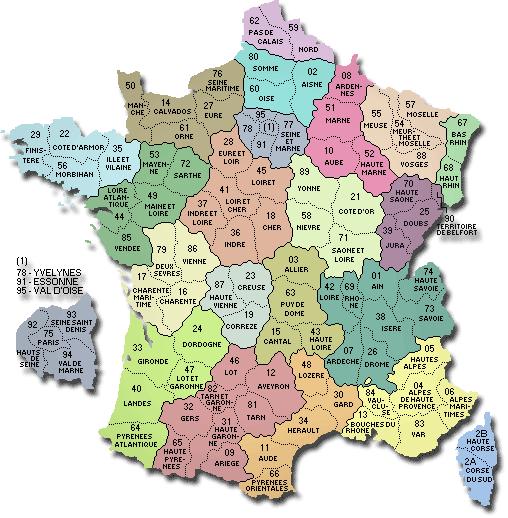 La carte de france avec ses départements