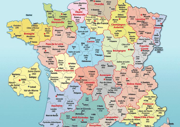 Carte avec les villes de france