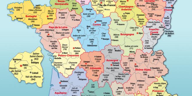 Carte france département et région