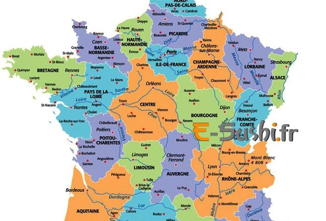 Carte geographique de la france et ses departements - altoservices