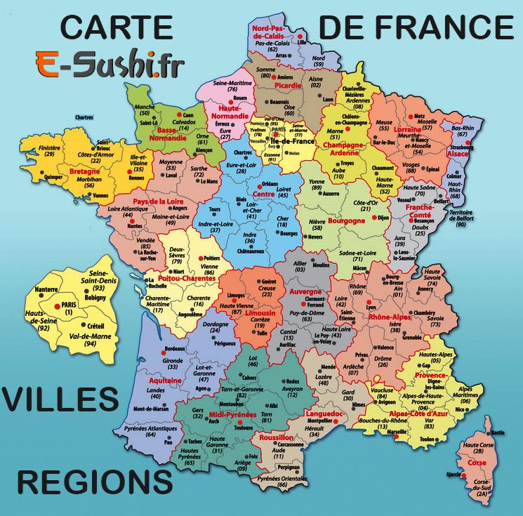 Photo de la carte de france avec les departements