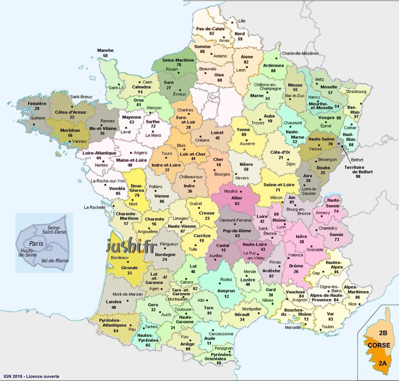 Carte des départements et villes