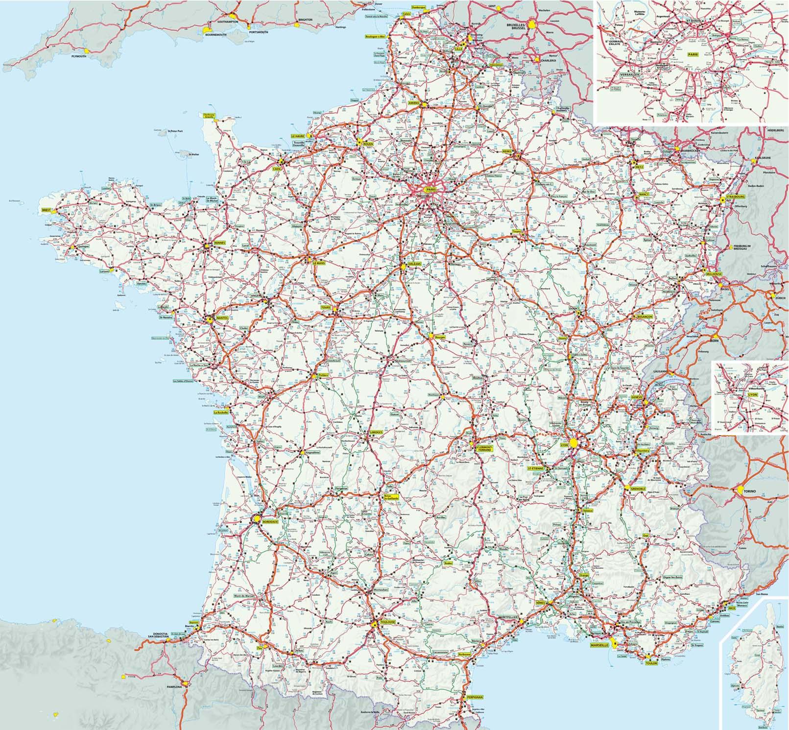 Carte de france routière avec departement