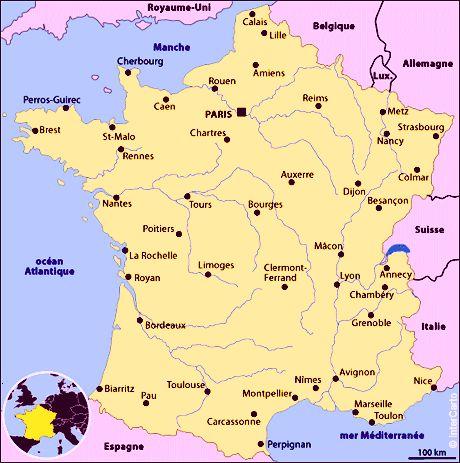 Carte de la france ville principale
