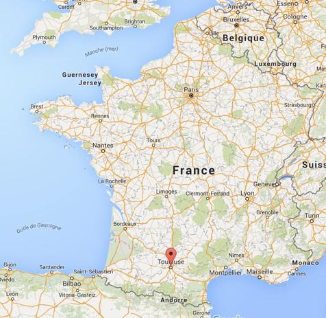Toulouse sur carte de france - altoservices