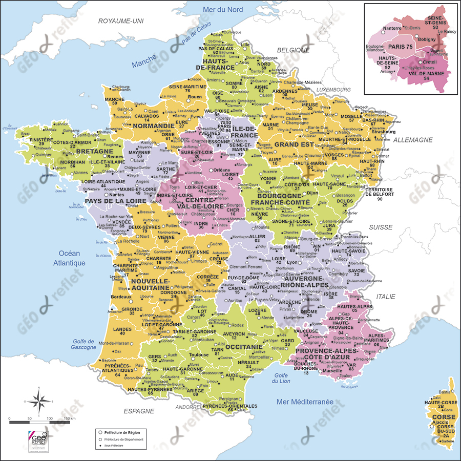 Carte de ile de france departement - altoservices
