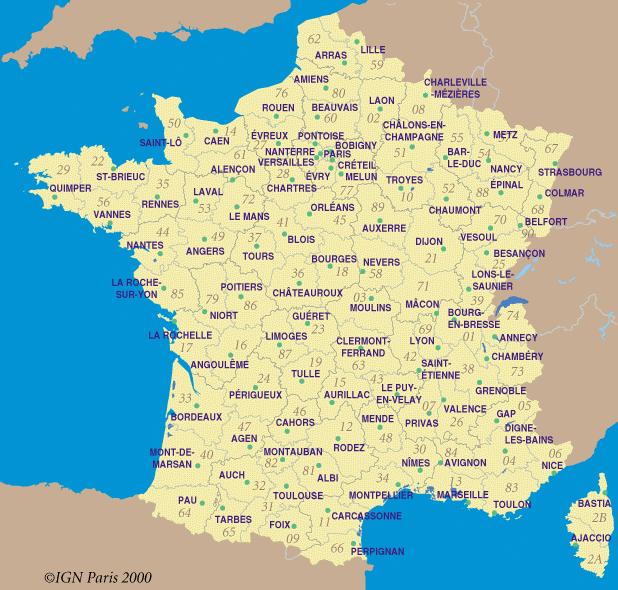 Carte des villes de france détaillée