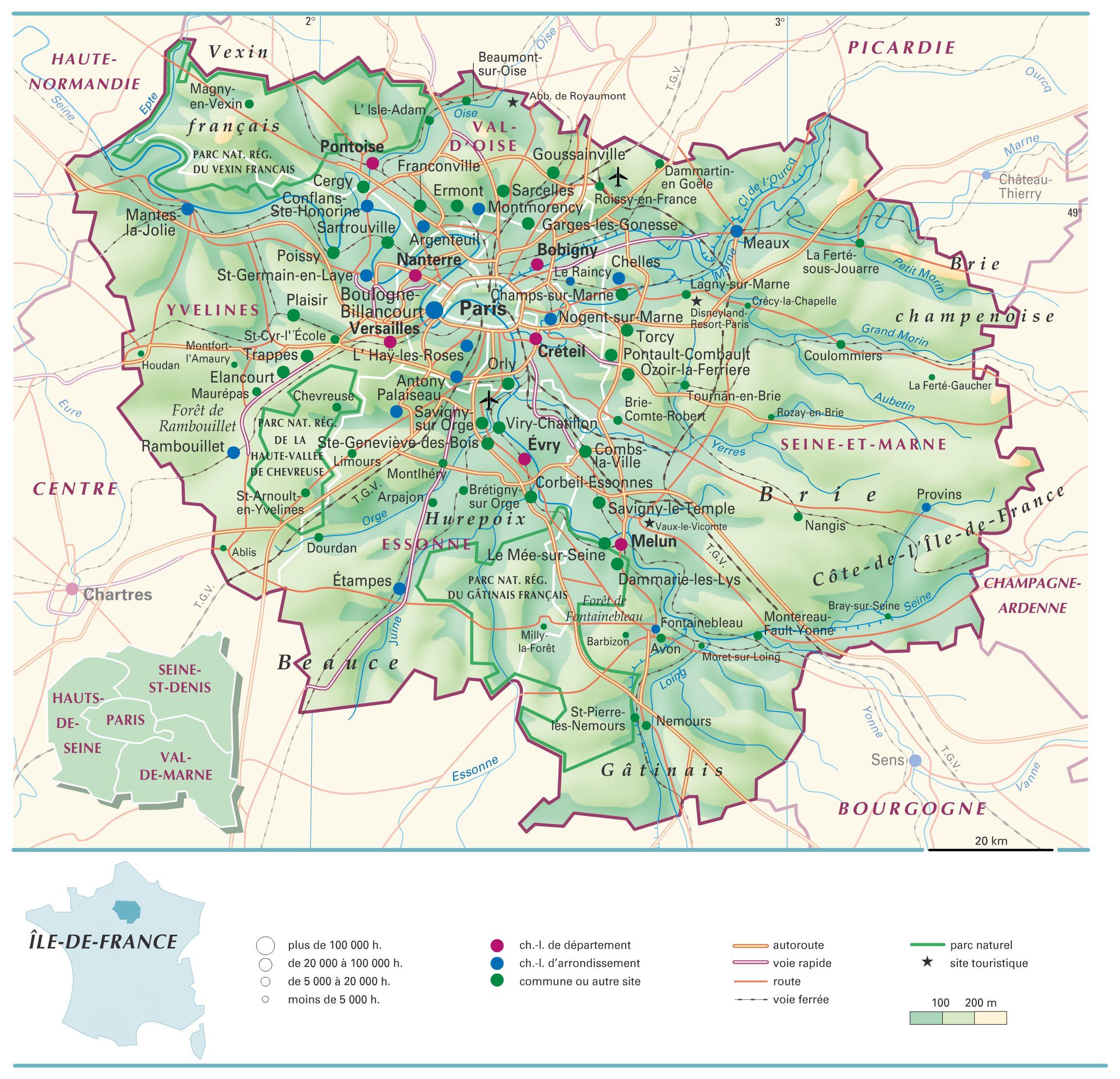 Les différentes villes de la france