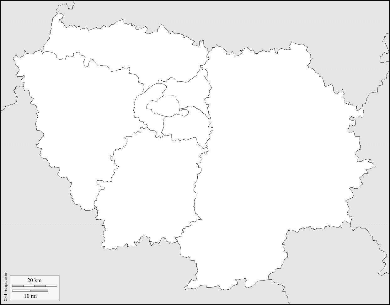 Carte de departement ile de france