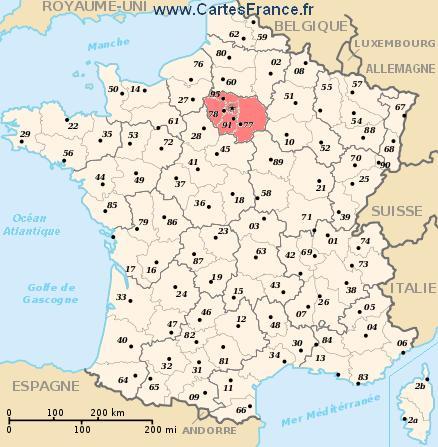Carte département ile de france