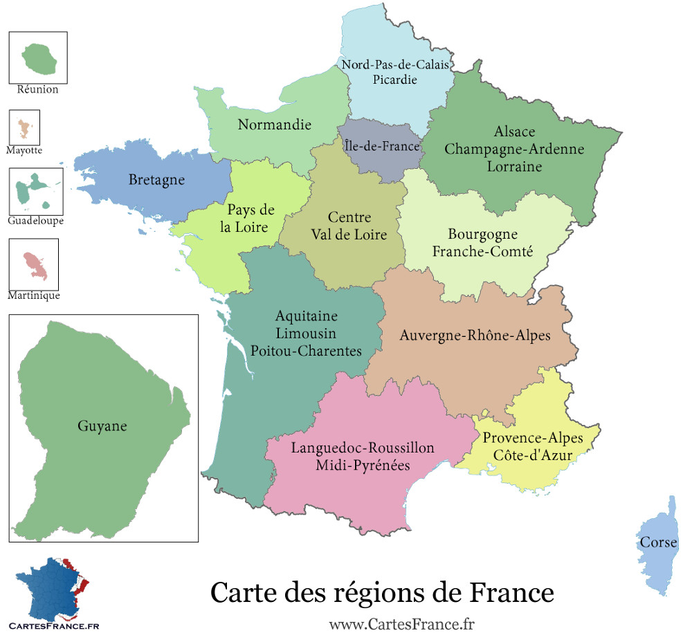 Carte des départements de france avec les villes