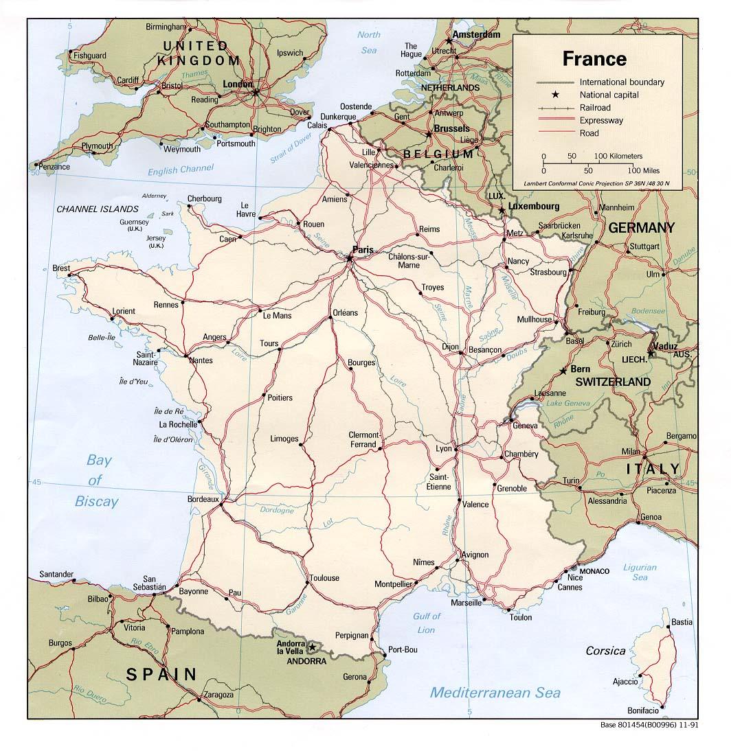 Carte des routes nationales
