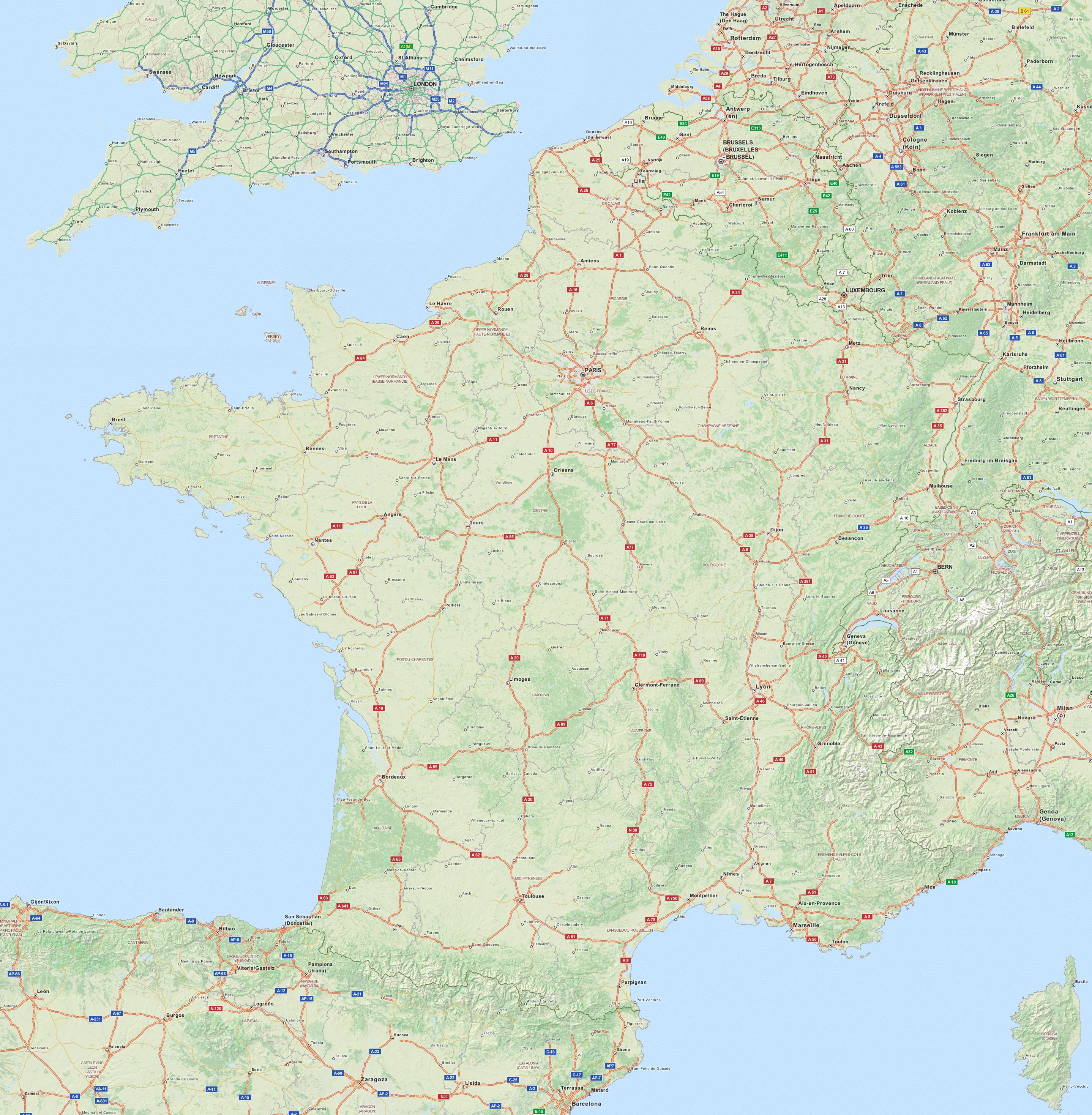 Carte routiere du sud ouest