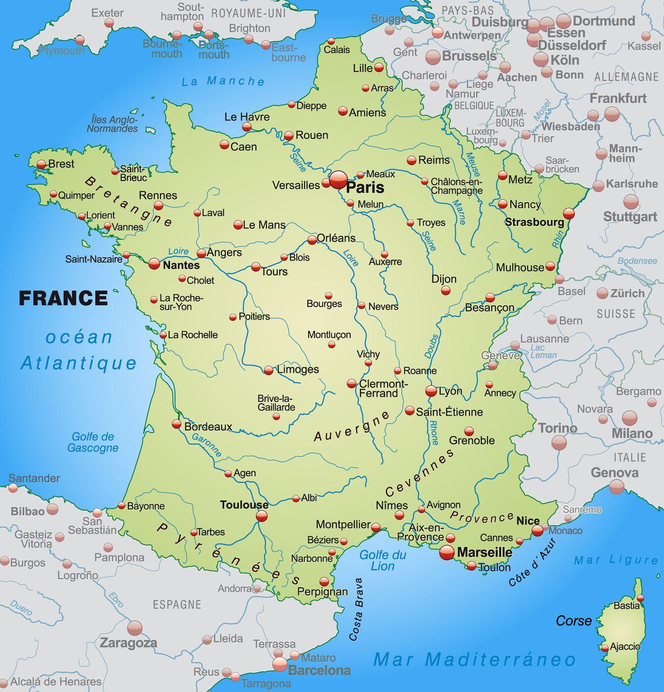 Carte du sud de la france avec villes