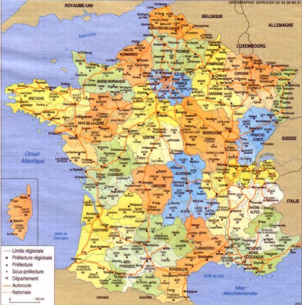 Carte departement et ville de france