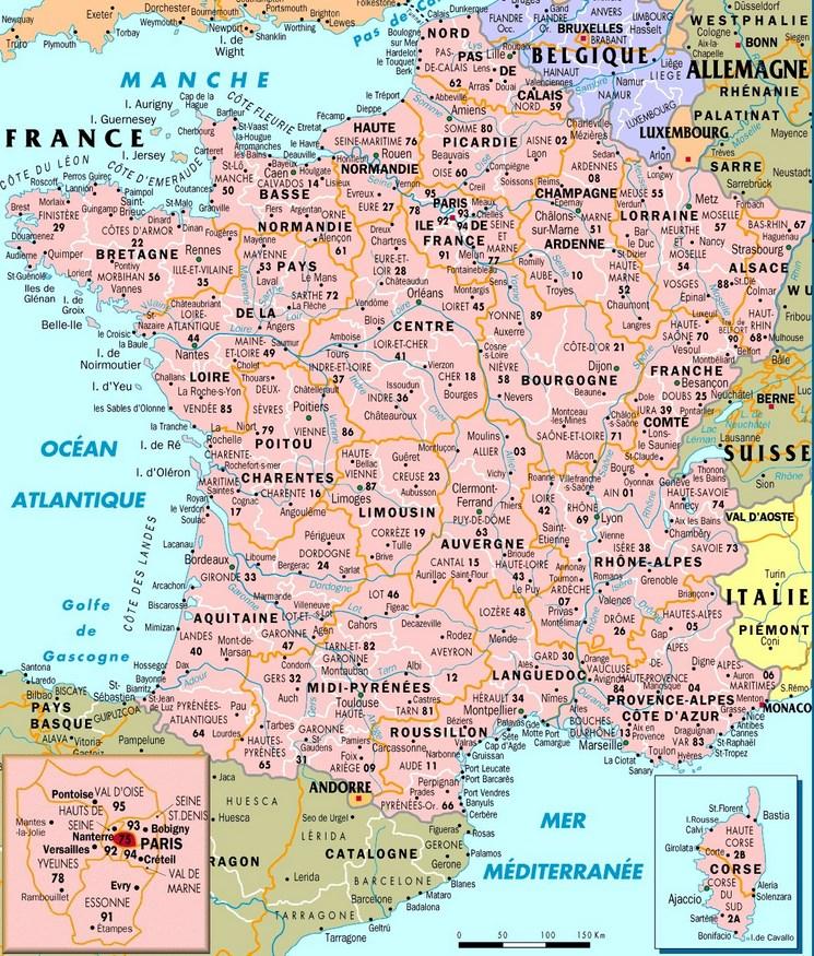 Carte de la france ville et region