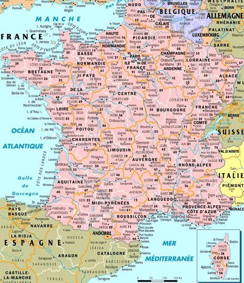 Carte départements français