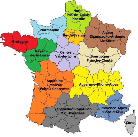Carte des régions françaises 2015