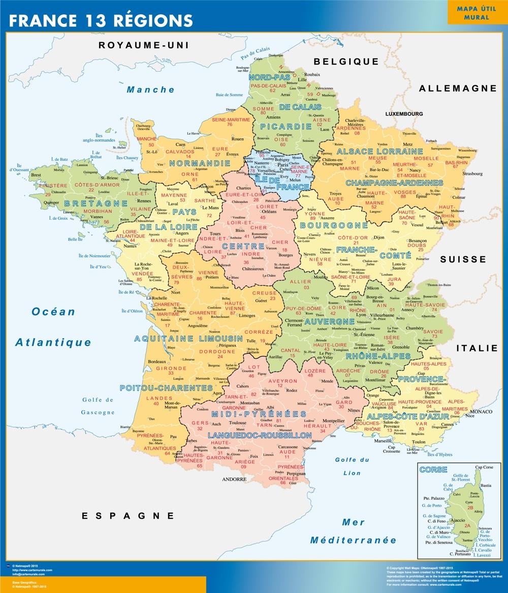 La carte de la france avec les régions