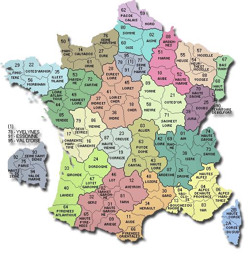 Liste départements français à imprimer