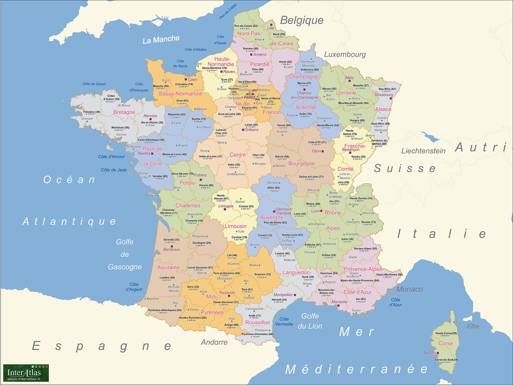 Carte de france département 2015