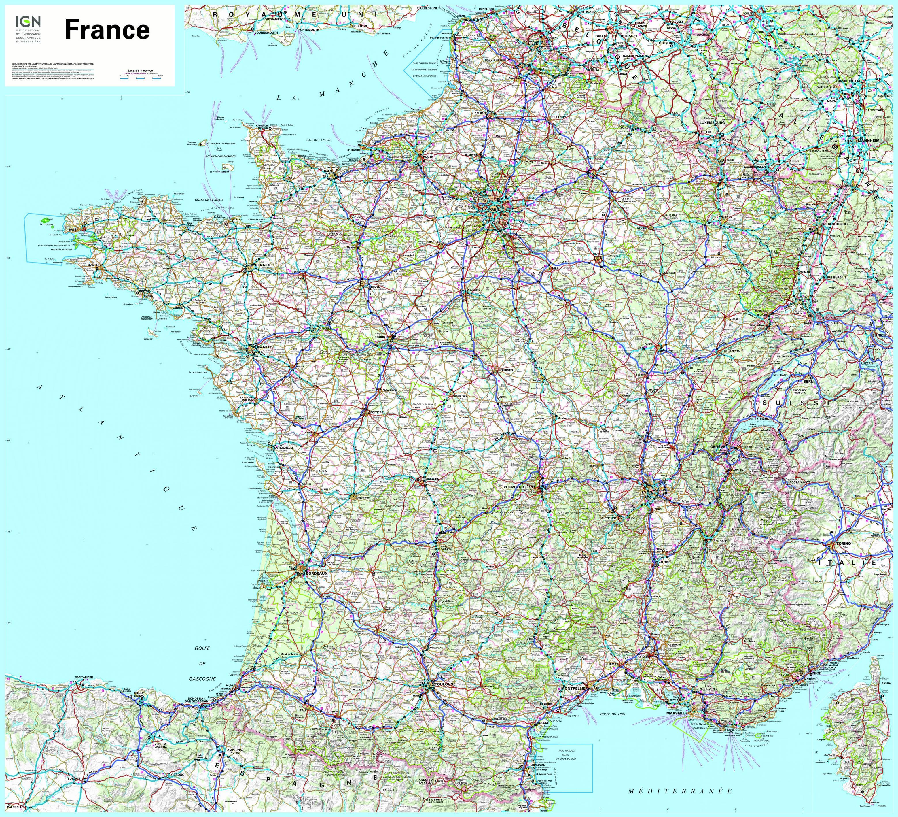 Carte de france détaillée routiere