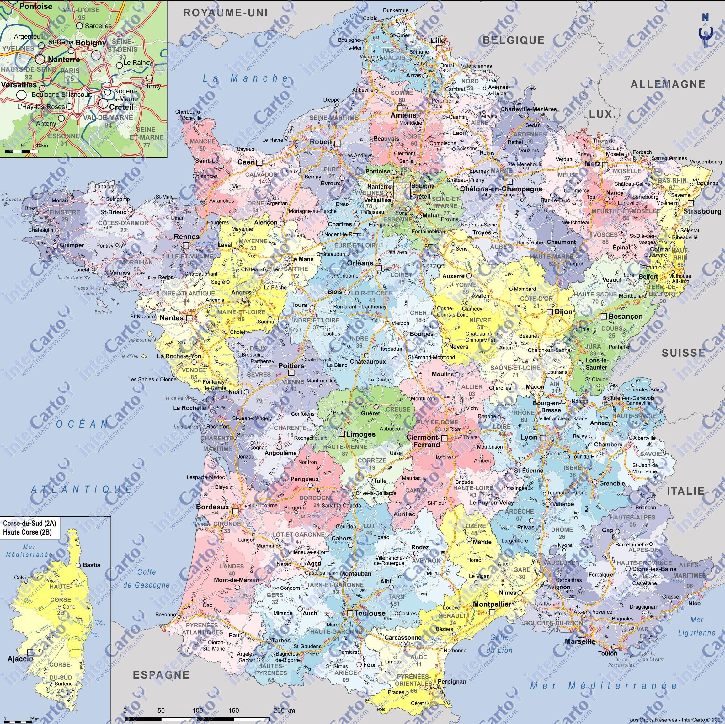Carte de france départements villes