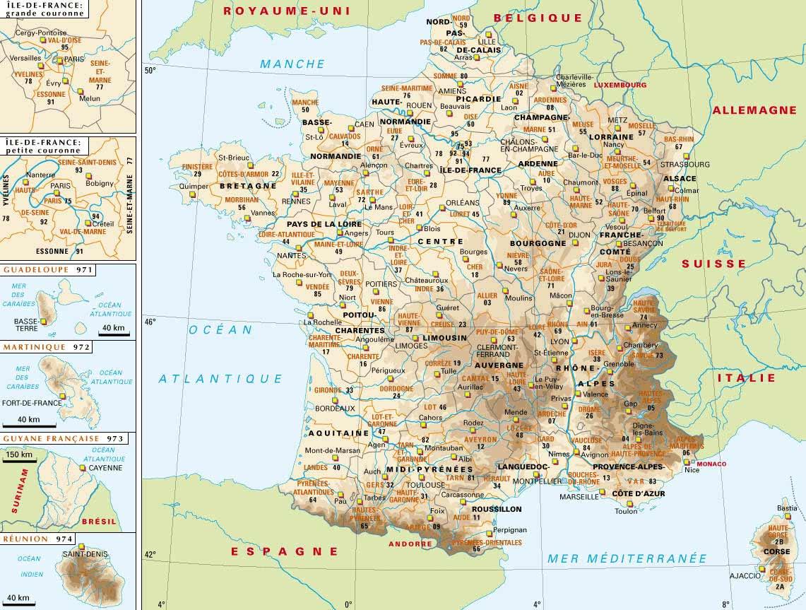 Carte de france et departement et villes