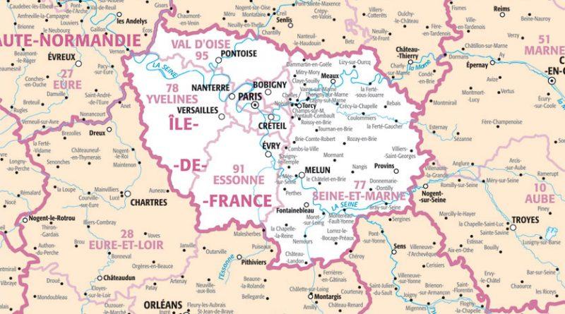 Carte de ile de france avec departement - altoservices
