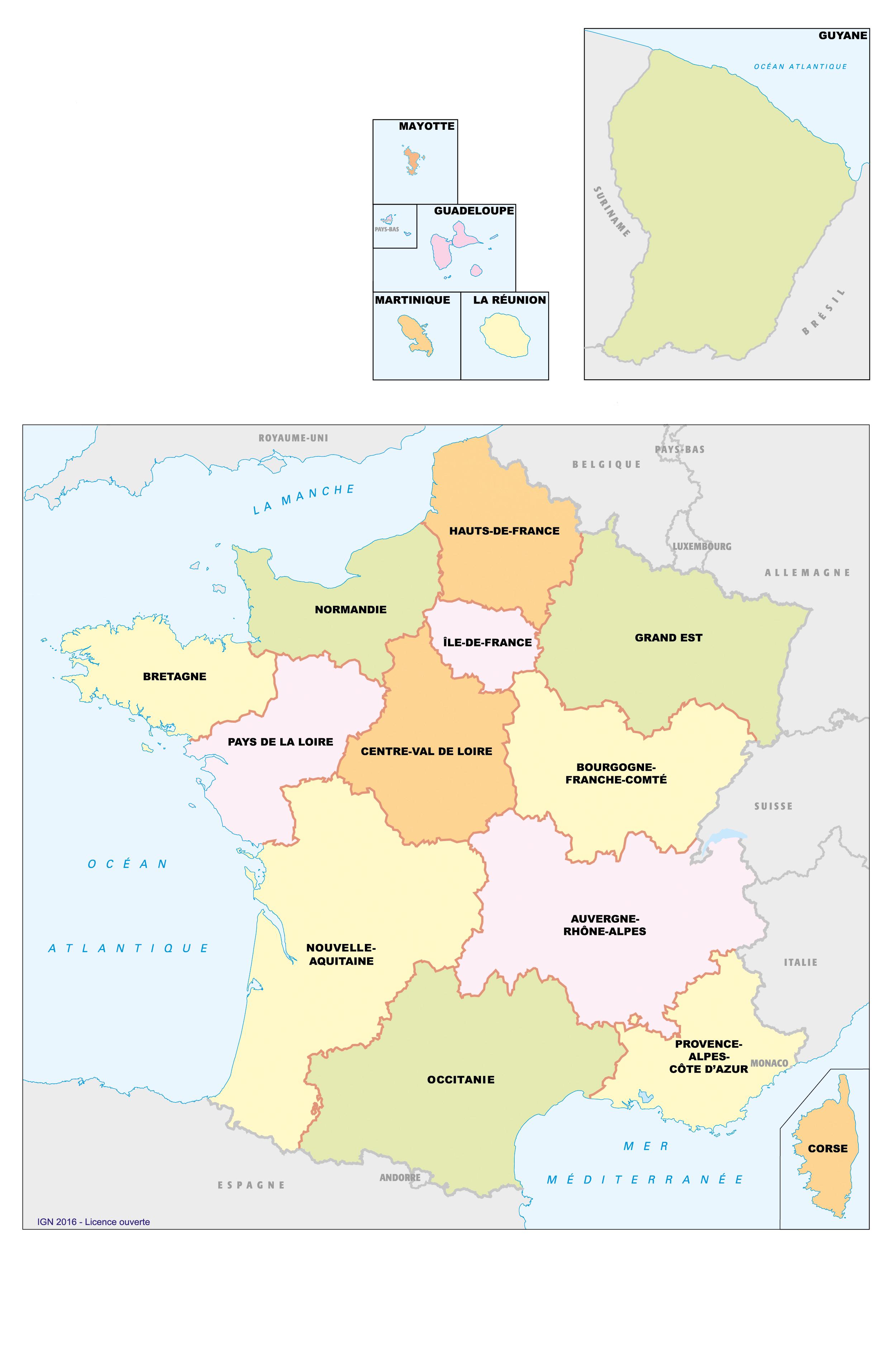 Télécharger carte departements francais
