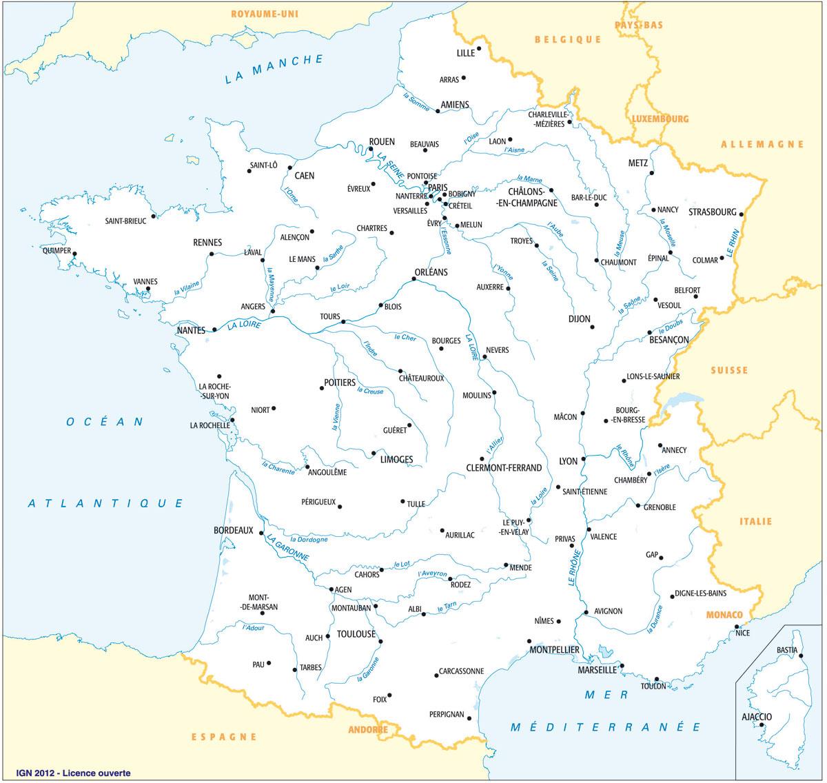 Carte de france à imprimer avec régions