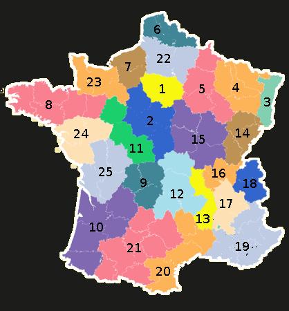 Numéro des régions
