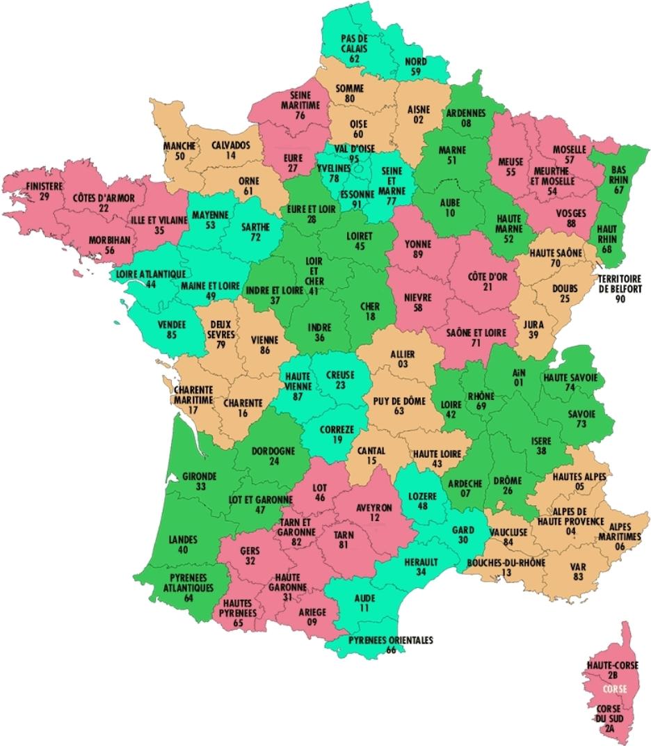 Liste des departements francais et outre mer