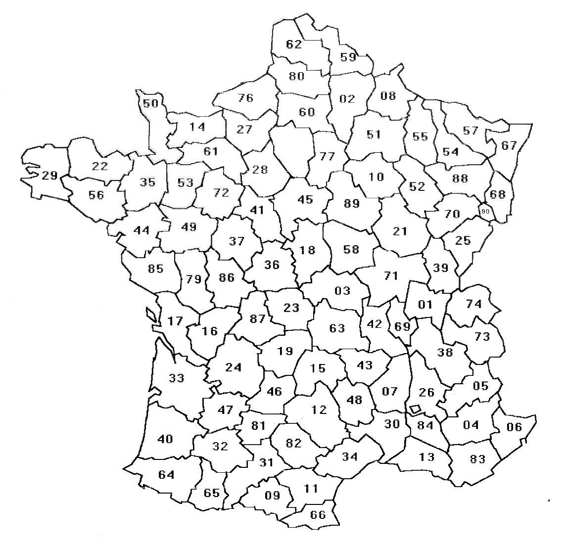 Carte des départements à imprimer