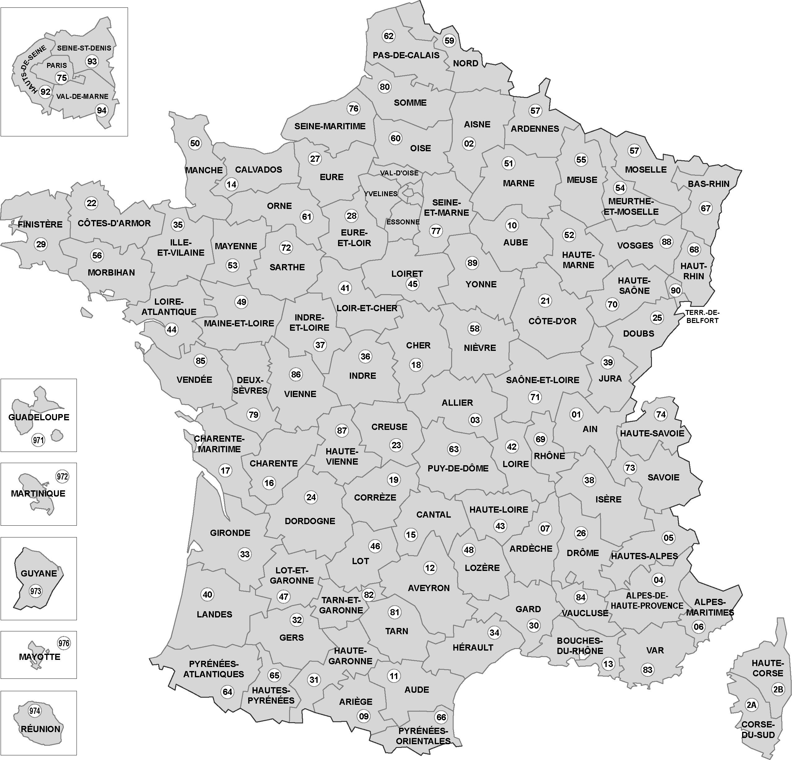 Carte departements francais