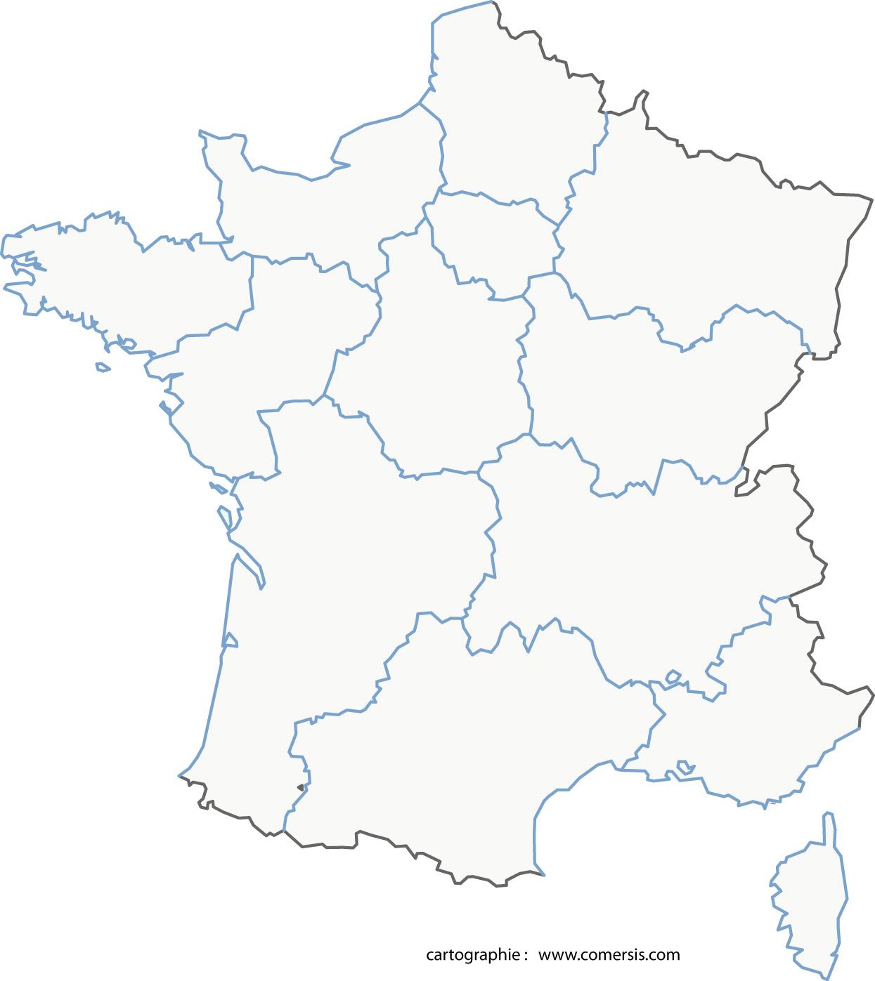 Carte des nouvelles régions à imprimer