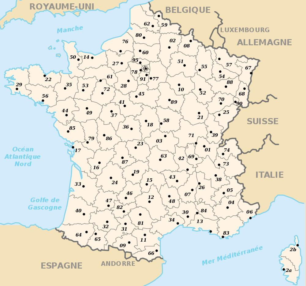 Carte avec département de la france