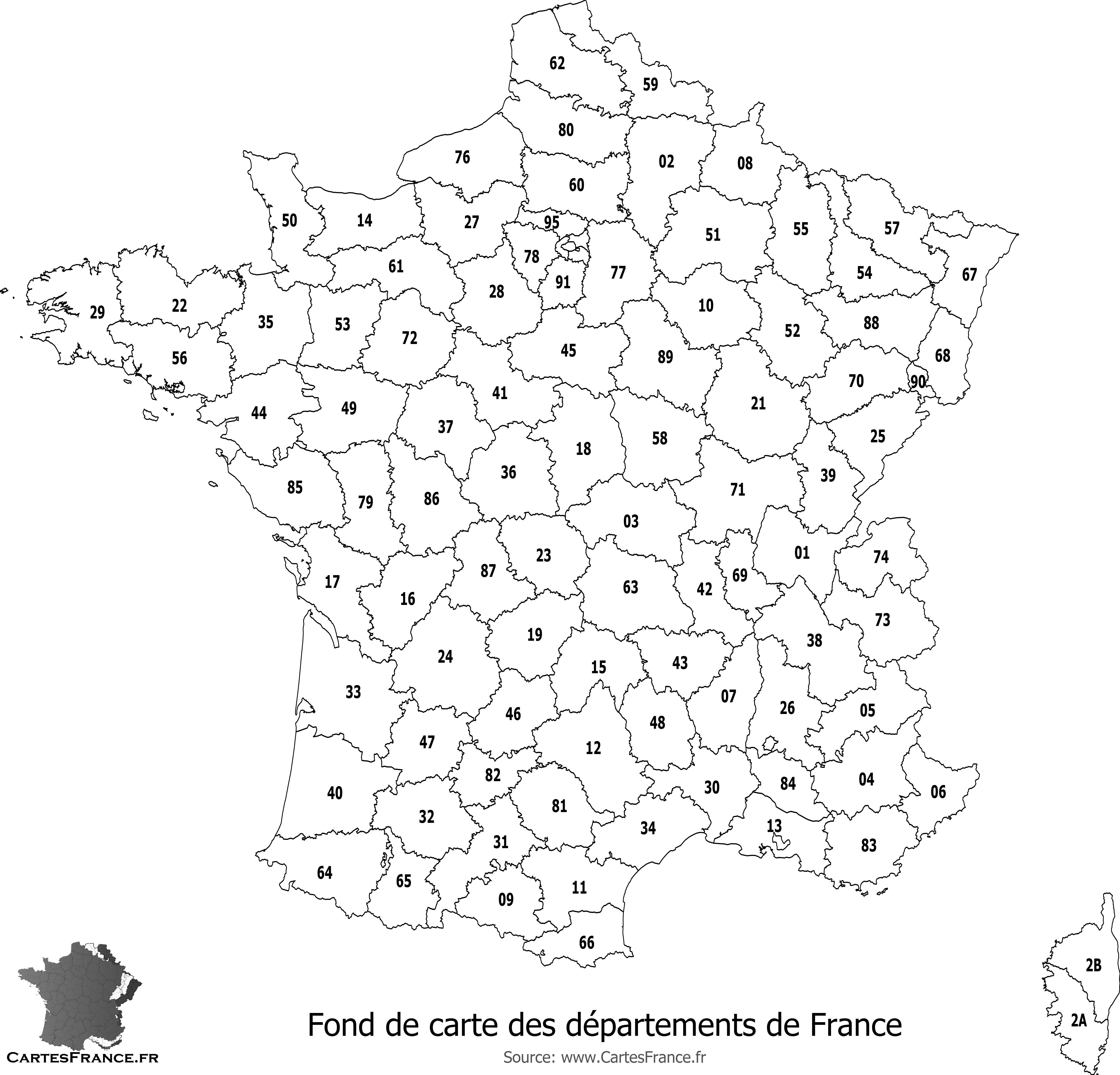 Liste des départements français avec leur numéro