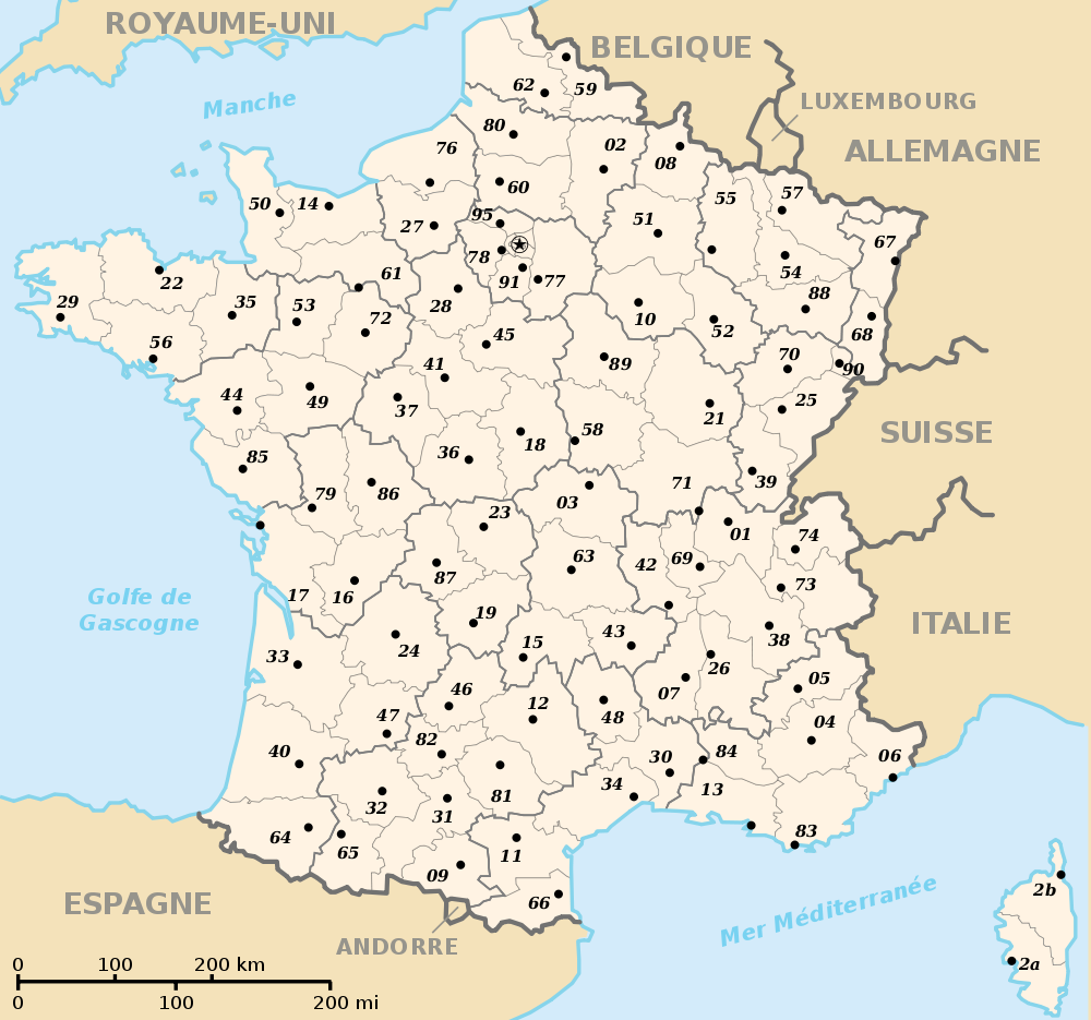 Carte france département région