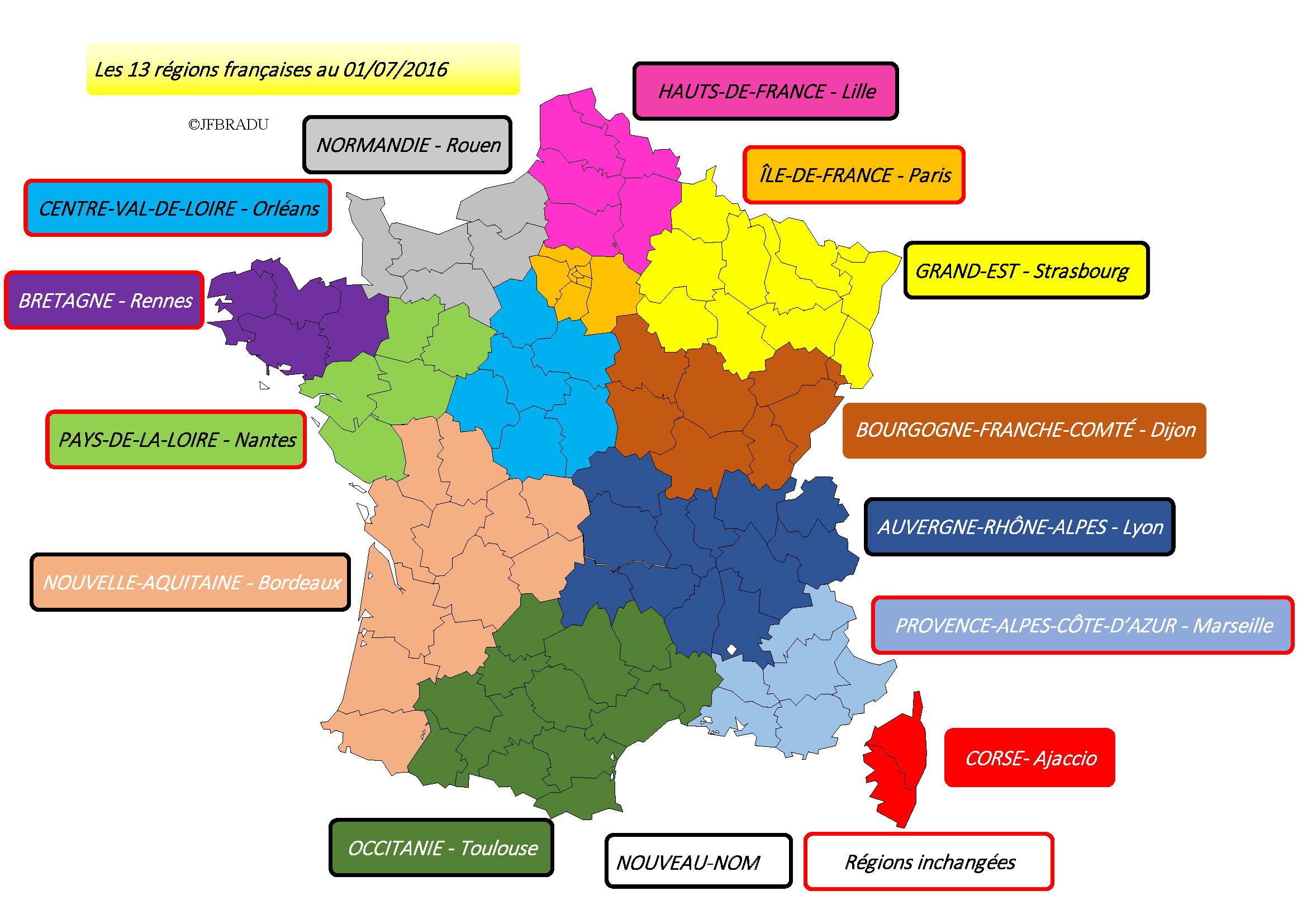Carte des régions de france 2016